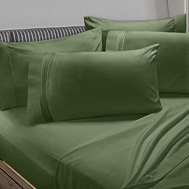 Clara Clark Premier 1800 Collection 6pc Bed Sheet Set with Extra Pillowcases - Queen, Calla Green