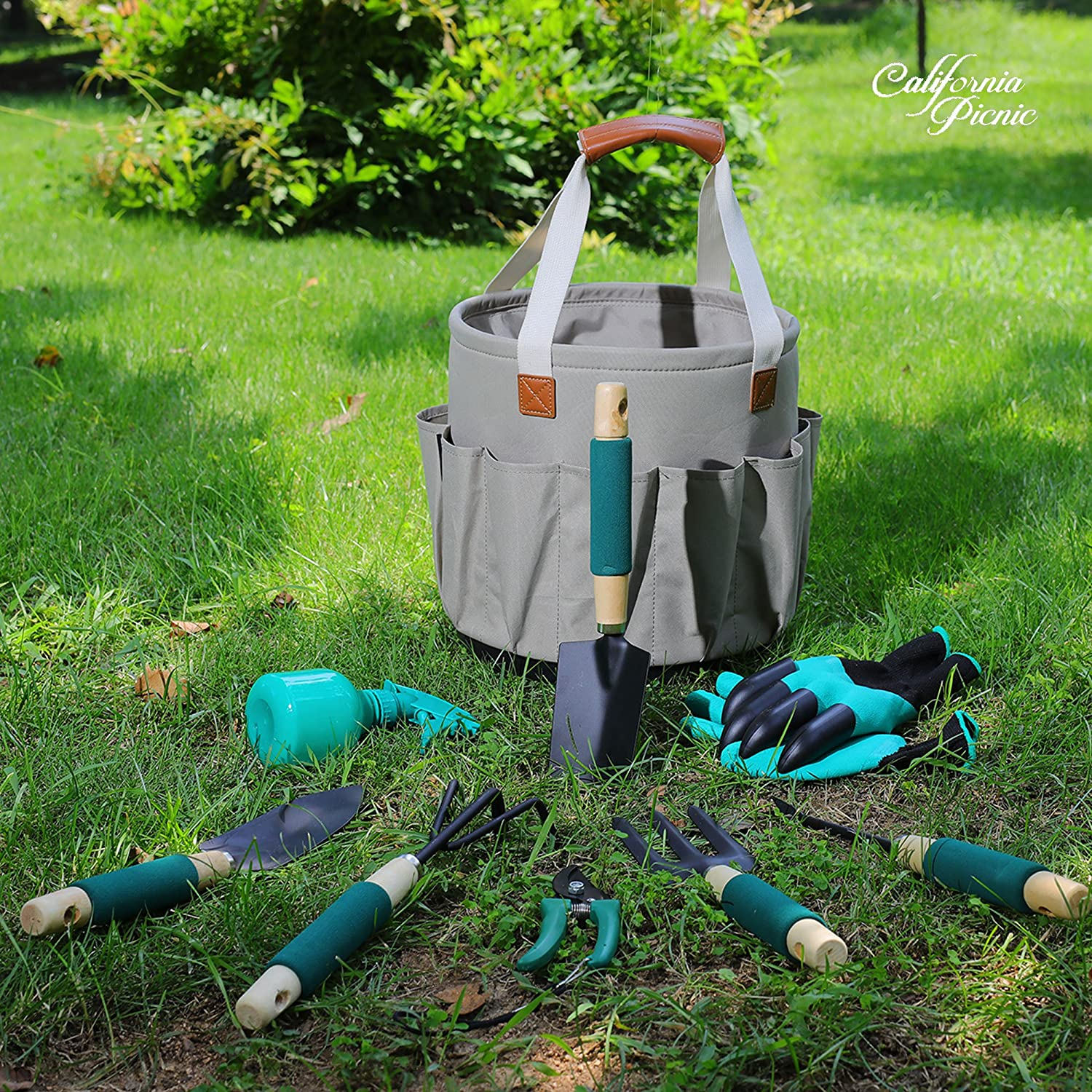 FLORA GUARD Garden Tools Set, 10 Pieces Gardening Tools Hand Tools Garden Gifts Multifunctional Set with a Kit