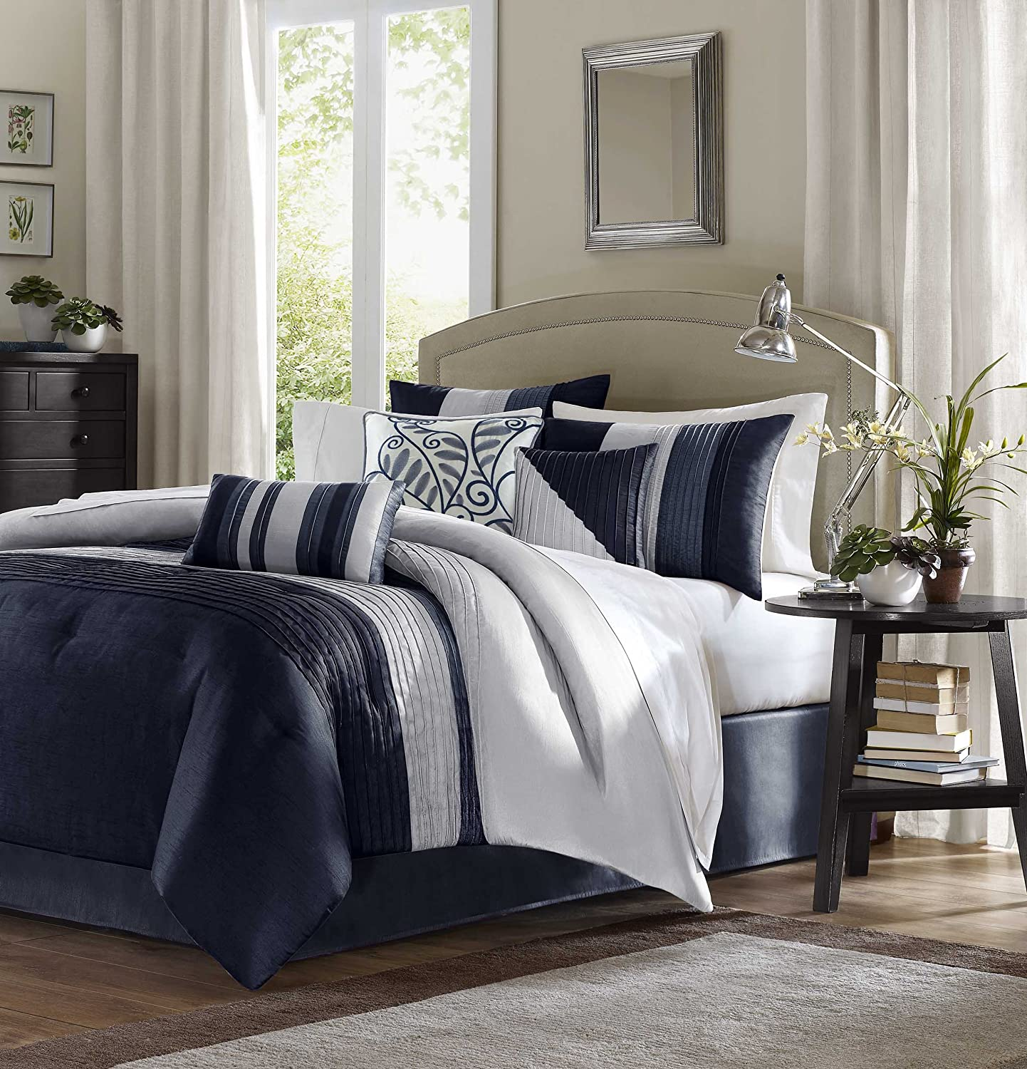Madison Park Amherst King Size Bed Comforter Set Bed in A Bag - Navy, Light Grey, Pieced Stripes – 7 Pieces Bedding Sets – Ultra Soft Microfiber Bedroom Comforters