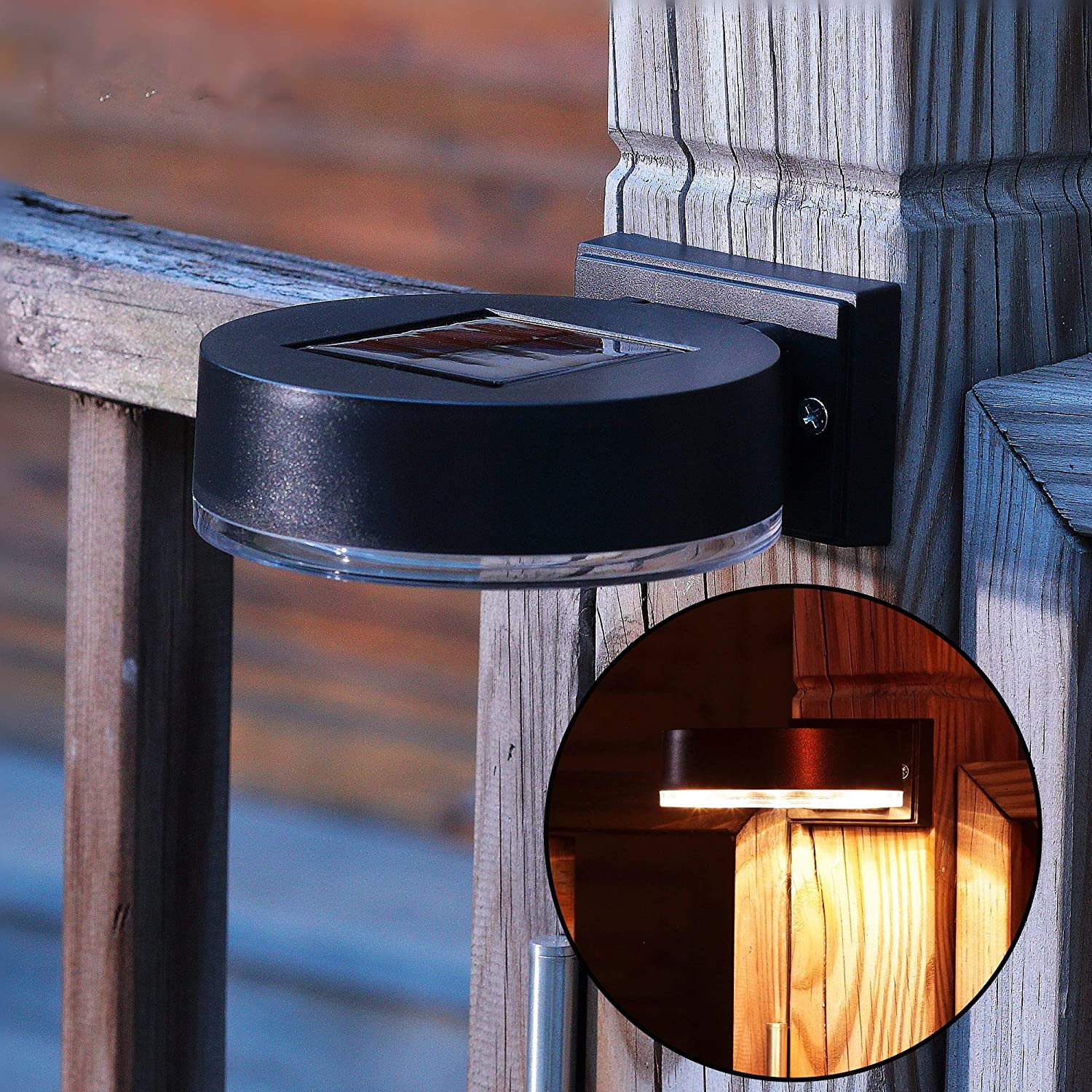 MAGGIFT 12 LEDs Solar Fence Lights Wall Mount, 10 Lumen Solar Deck Lights Solar Porch Lights Wall Sconce Warm White Lights for Outdoor, Steps, Yard, Garden, Garage, Patio, Driveway, 2 Pack