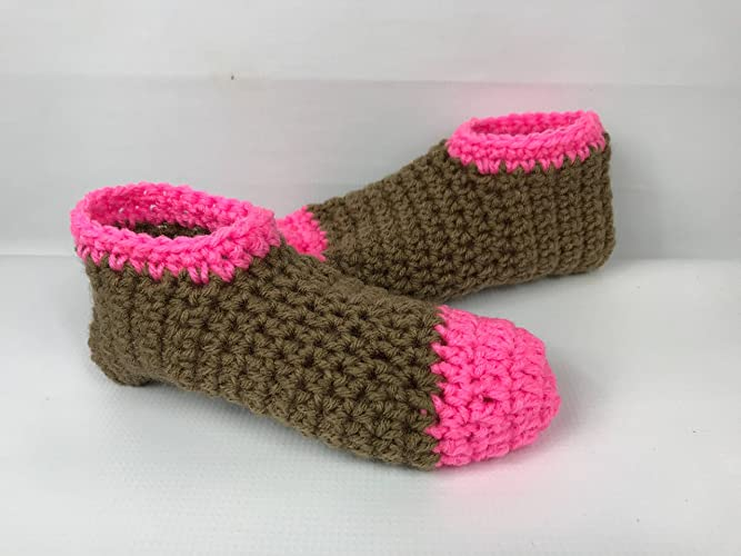 528677bbb208d Women's Booties, Crochet Slippers, pink and brown
