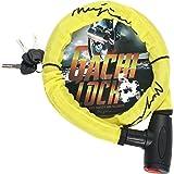 (ムジナ) mujina バイクロック φ(直径)22mm×1200mm 盗難防止 鍵3本セット 保証付 ワイヤーロック ガチロック (イエロー)