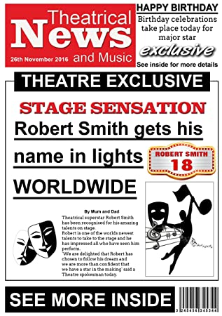 Personalised theatre themed newspaper birthday card gorgeous personalised theatre themed newspaper birthday card gorgeous bookmarktalkfo Choice Image