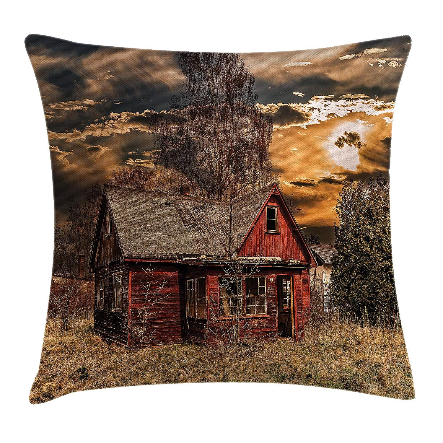 Queen Area Scenery Decor Scary Horror Movie Themed Abandoned House in Pale Grass Garden Sunset Photo Square Throw Pillow Covers Cushion Case for Sofa Bedroom Car 18x18 Inch, Multicolor