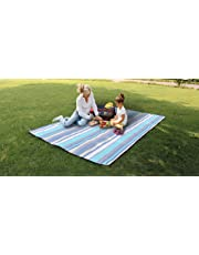 Travel RugExtra Large Picnic Blanket Rug Waterproof 300 x 200cm for Festival Beach Travel Camping Outdoor,Green/Blue Stripe