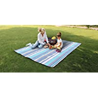 Travel RugExtra Large Camping & Picnic Blanket Rug Waterproof 300 x 200cm for Festival Beach Travel Camping Outdoor,Green/Blue Stripe