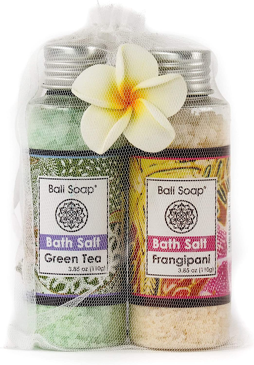 Green Tea & Frangipani Bath Salt Gift Set, Ideal for Sore Muscles, Detox, Relax & Stress Reliever, Small 2pc 3.8 Oz Each, by Bali Soap