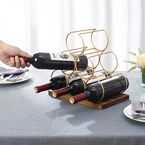 MyGift Modern Brass Metal Wire Burnt Wood Tabletop Wine Storage Rack / 6-Bottle Freestanding Display Holder
