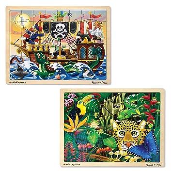 Melissa Doug Wooden Jigsaw Puzzles Set Rainforest Animals And Pirate Ship 48 Pcs