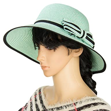 Aerusi Womens Panama Series Bowler Floppy Straw Sun Hat with Stylish Bow  Band (Teal) cc85ecfe3
