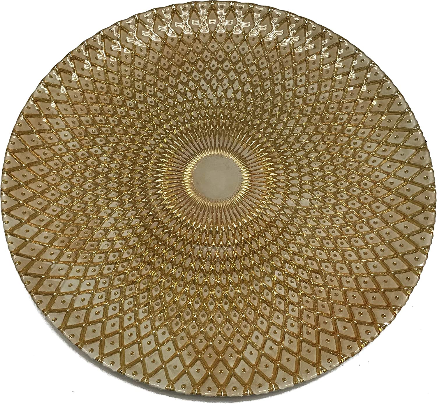 """Circleware 03090/AM Set of 4-13"""" Glass Charger Plates Dinnerware Hard Cut Style Round All Occasion Dishes, Limited Edition Home Kitchen Food Service Decor 4-pack Gold & White"""