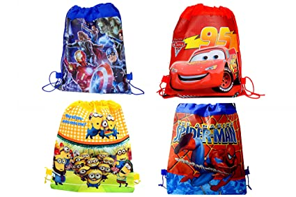 SR GIFTS Pack Of 12 Cartoon Printed Haversack Bag For Kids Birthday