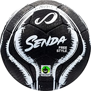 Senda Street Freestyle, Trick, and Skills Soccer Ball with Rubber Outer Cover, Fair Trade Certified, Black/White, Size 4 (Ages 13 & Up)