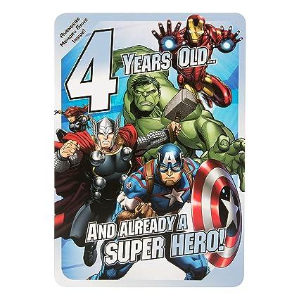 Hallmark - Tarjeta de Marvel VENGADORES 4th cumpleaños ...