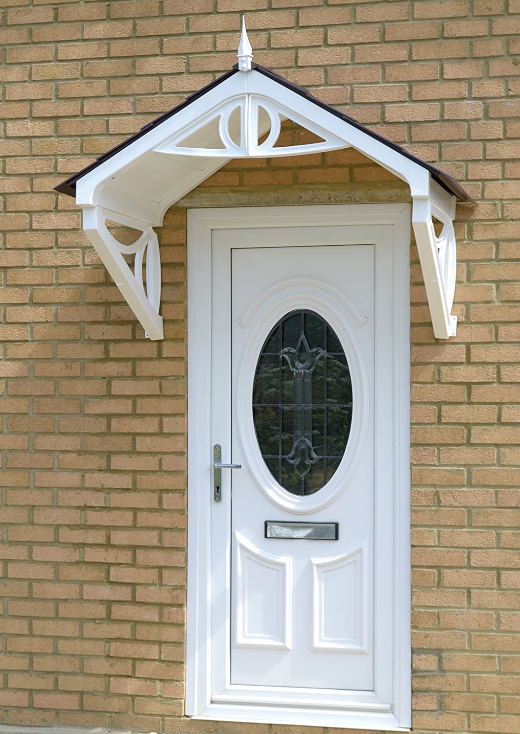 Brown Tiles Front door Canopy Southwell Canopy Brown Frame