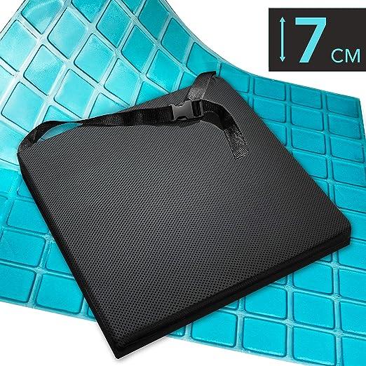 AIESI Cojín Antiescaras Profesional (Certificado) Memory en poliuretano expandido con cojín interior de gel viscoelástico y cinturón cm 44x44x7h ✔ ...