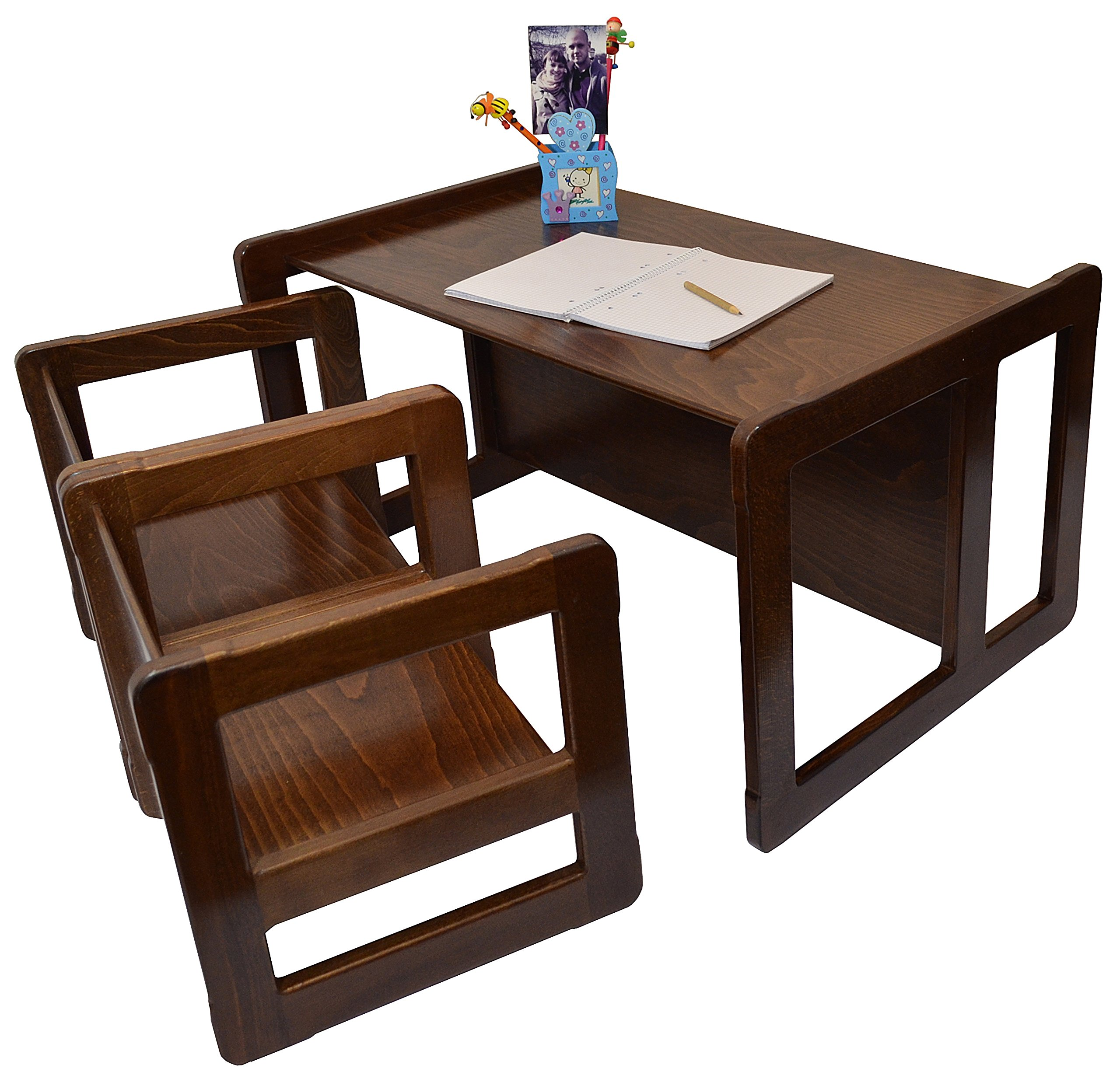 3 in 1 Childrens Multifunctional Furniture Set of 3, Two Small Chairs or Tables and One Large Bench or Table Beech Wood, Dark Stained