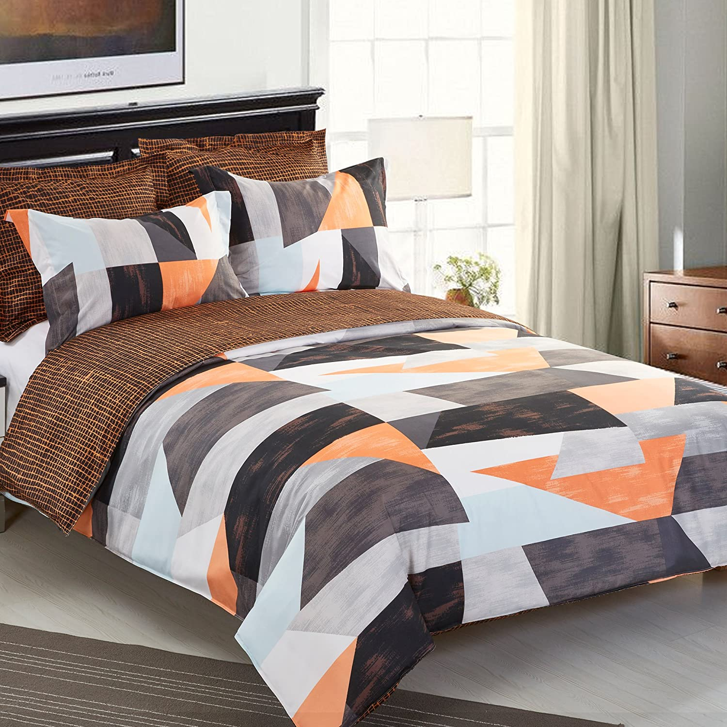 NTBAY 5 pcs Reversible Fashionable and Simple Geometric Pattern Printed Microfiber Duvet Cover Set