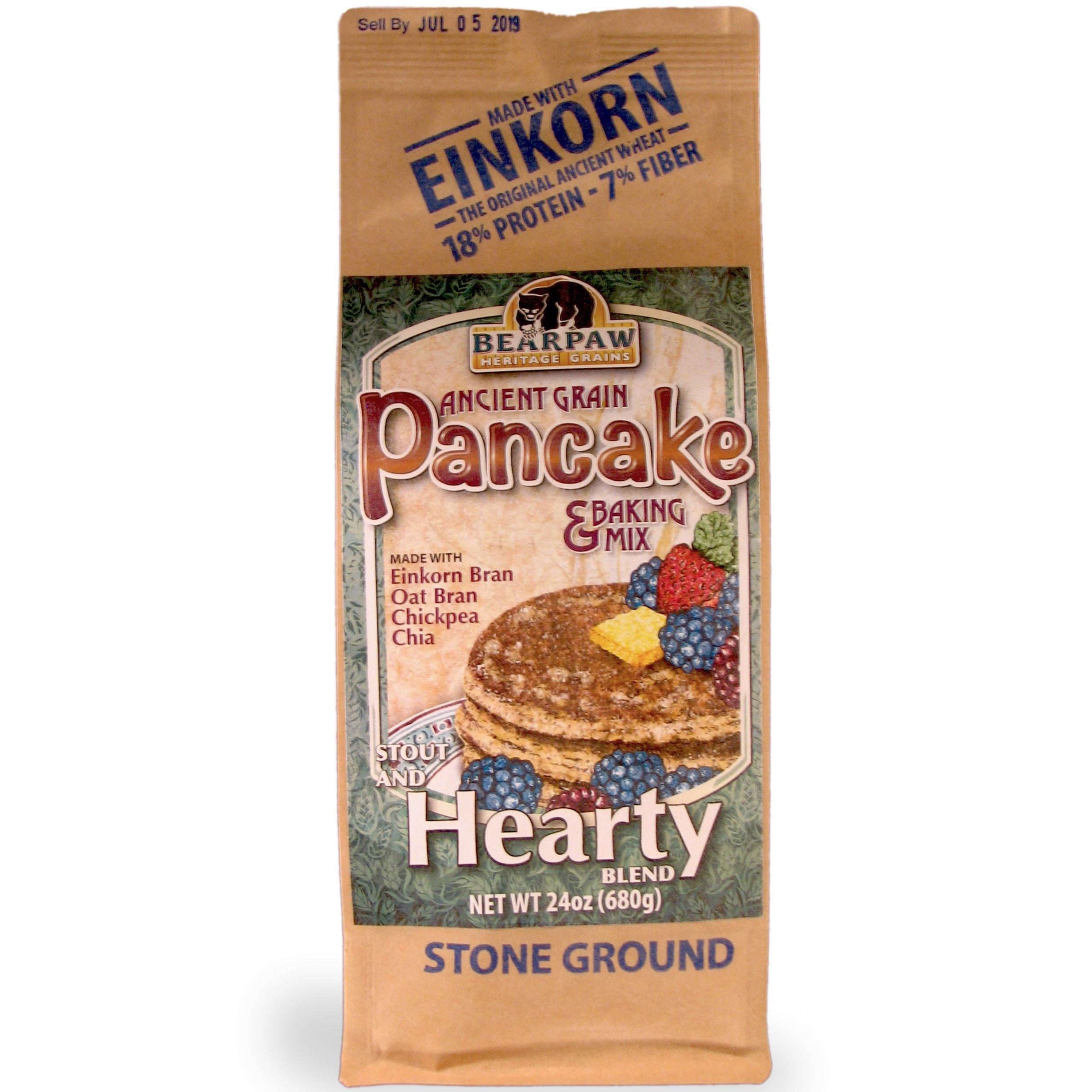 Bearpaw Ancient Grain Pancake Mix, Hearty Blend (24 oz), High Fiber Einkorn Bran, Oat Bran, BearpawGrains 861262000388