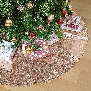 Christmas Tree Skirt Sequin Rose Gold 36