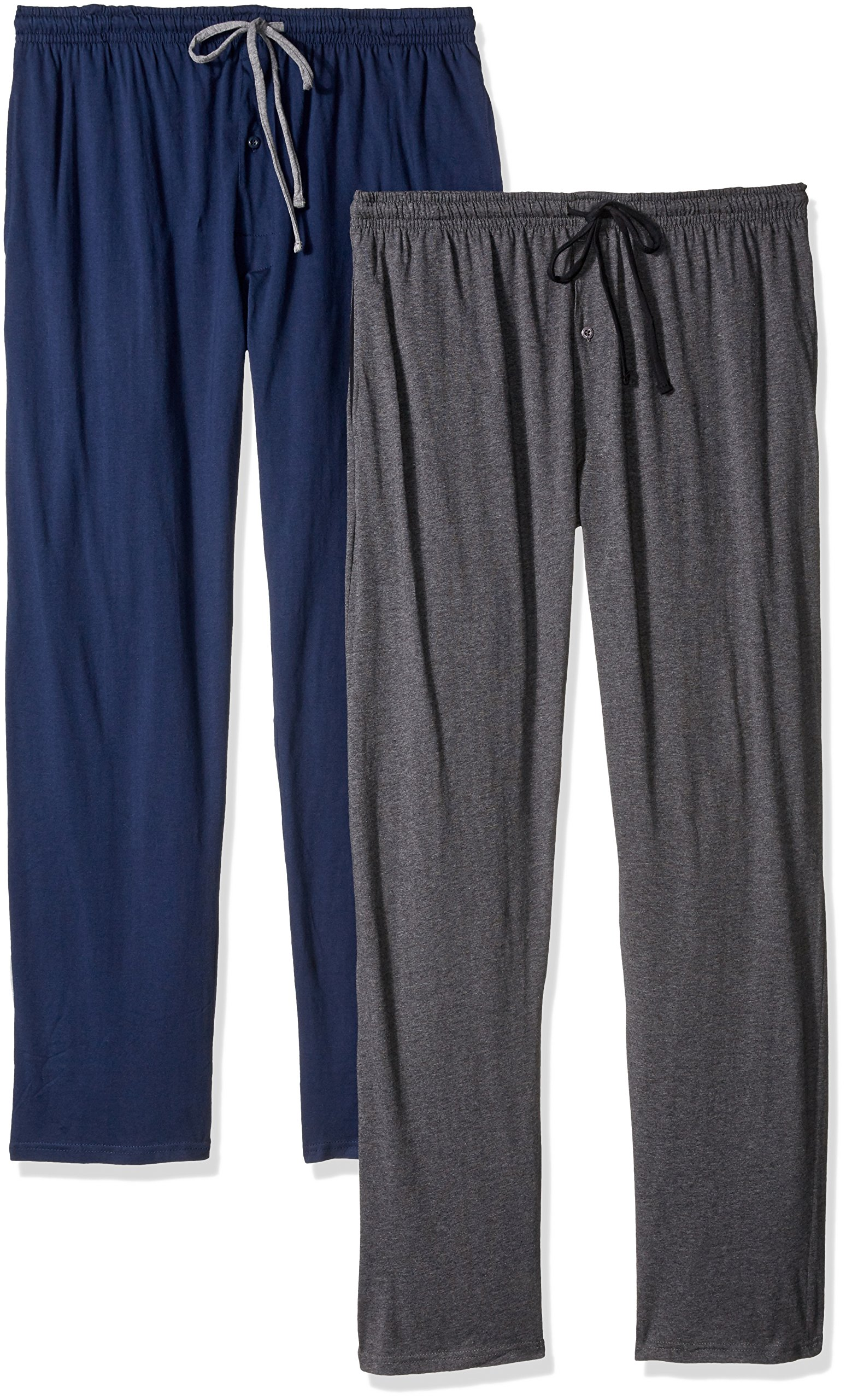 Hanes Men's Solid Knit Jersey Pajama Pant (Pack of Two Pairs), Navy/Grey, Large