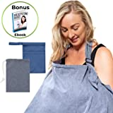 Breastfeeding Cover, Baby Nursing Cover Ups for Mum-Soft, Lightweight, Breathable -Multi-use Privacy Cover for Car Seat, Stroller -Perfect for Newborns-Free Wet Bag & eBook by Time2blossom (Blue)