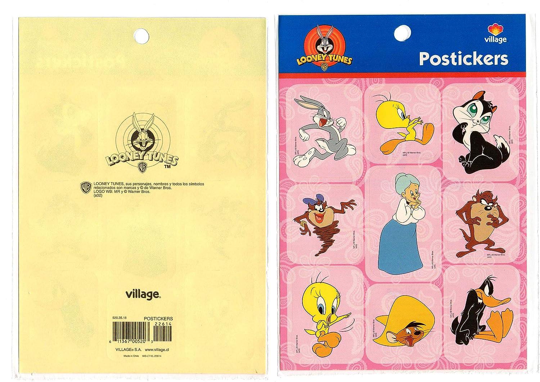 Looney Tunes Devil TAZMANIA Stickers Decal POSTICKERS Tweety PIOLIN 2 Pieces VILLAGE