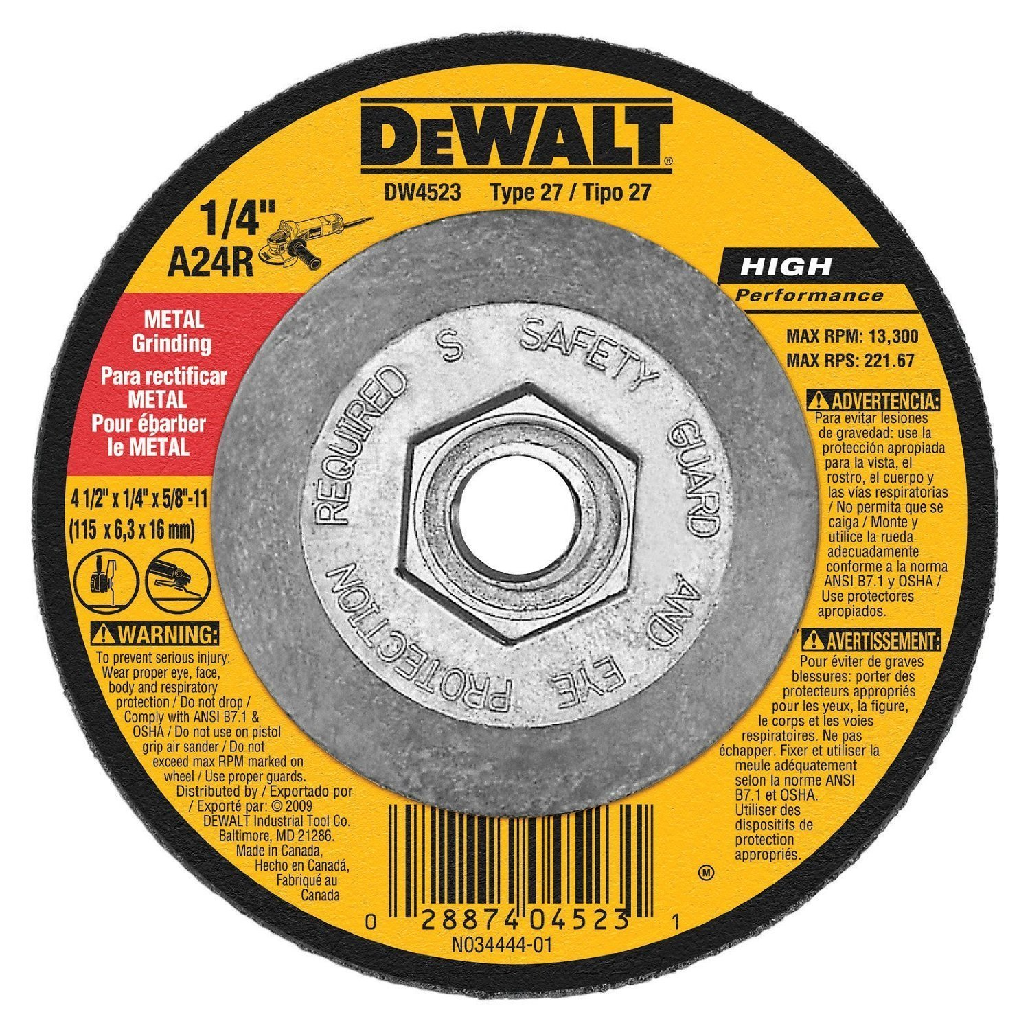 Dewalt DW4523 6 Pack 4-1/2-Inch by 1/4-Inch by 5/8-Inch General Purpose Metal Grinding Wheel Dewalt P.T.A.