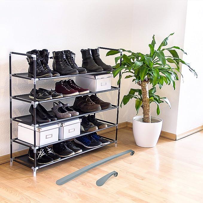 Relaxdays Pack de 2 Calzadores de Zapatos Largo y Corto para Colgar, Hierro, Gris Oscuro, 15 y 60 cm