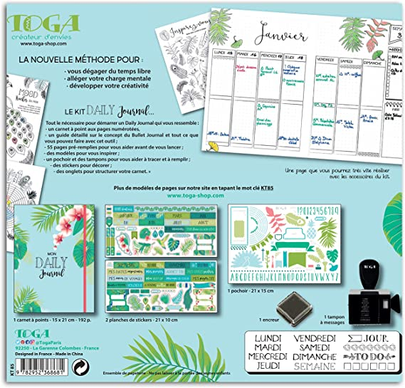 La metodo non applicabile carta Toga Paons Kit Bullet Journal verde