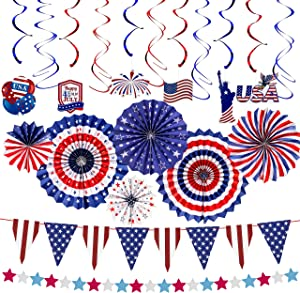 Unves 21Pcs 4th of July Party Decorations, Red, White and Blue American Flag Style Patriotic Party Decoration, Star Streamer, Pom Poms, Hanging Swirls for Independence Day Party Decor Supplies