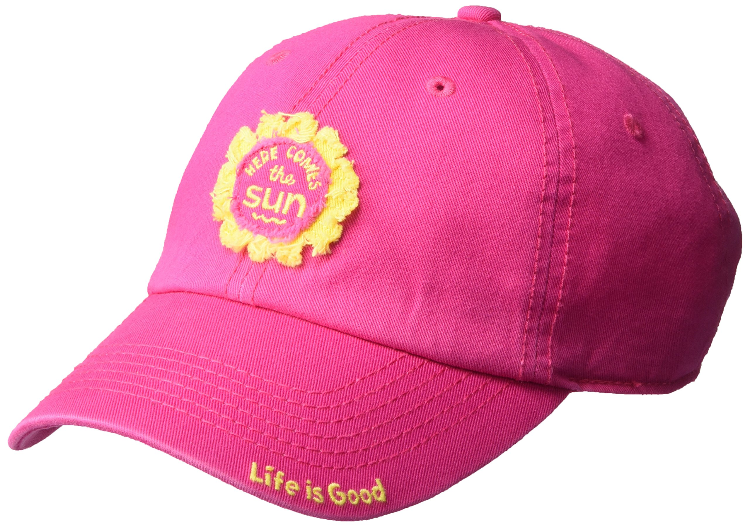 Life is Good Tattered Chill Cap Sun Patch Cold Weather Hats, Pop Pink, One Size
