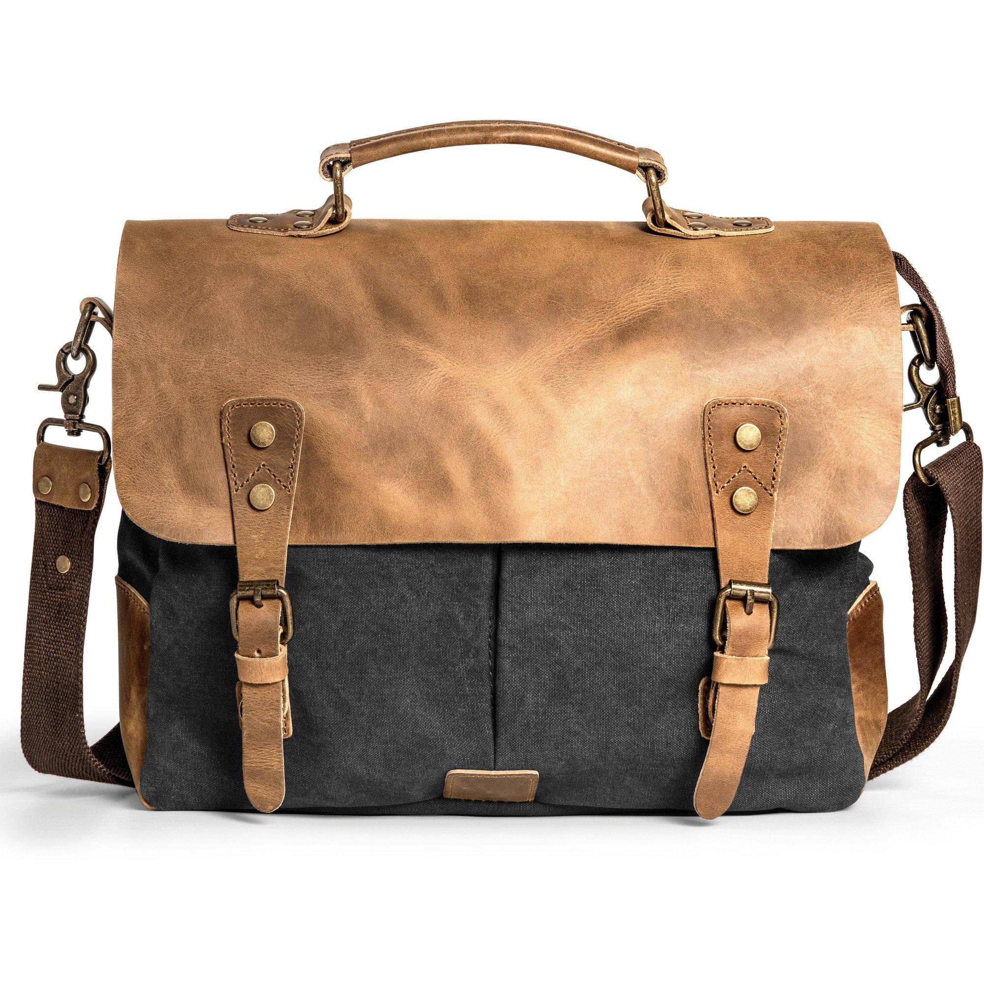 Messenger Bag, Cambond Satchel Bag Genuine Leather Vintage 14'' Laptop Bag Canvas Briefcase for Men and Women Gift (Grey)