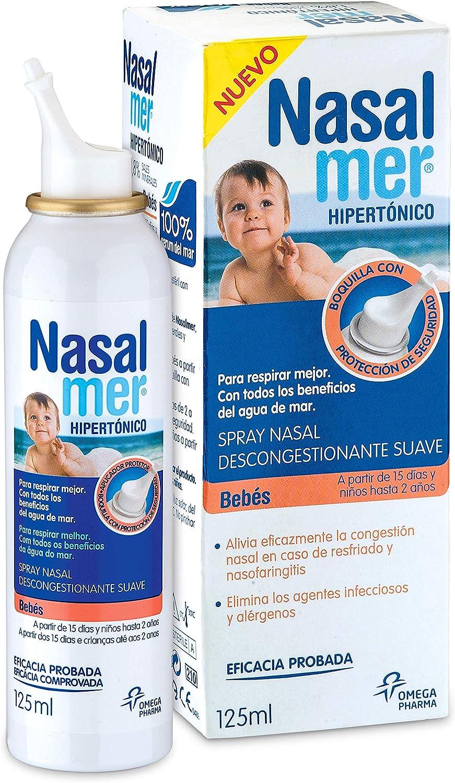 Nasalmer Bebes - Spray Contra la Congestión Nasal - Spray de Higiene y limpieza Nasal - Bebes a partir de 15 días - 100% Agua de Mar. Descongestión y Limpieza Nasal -