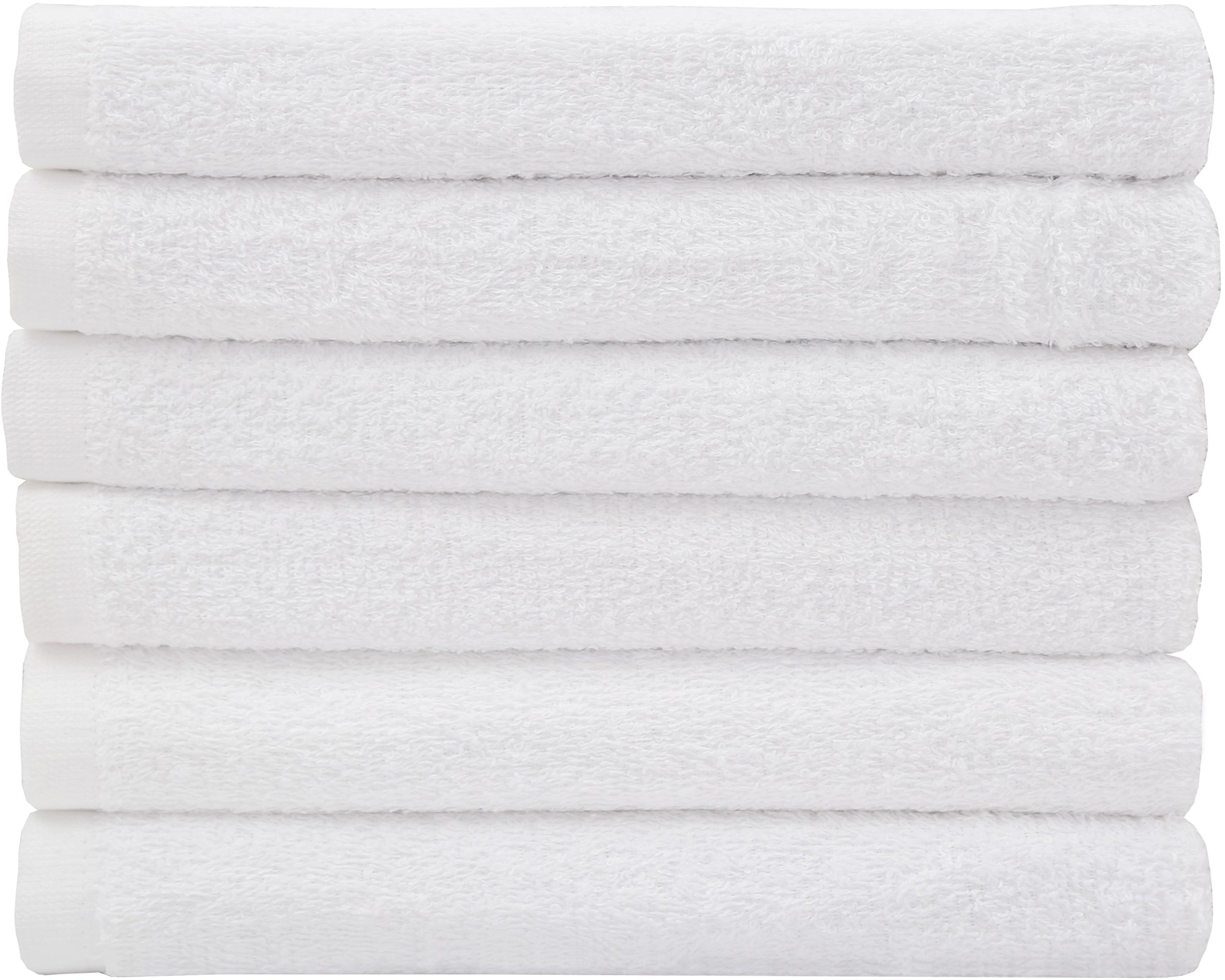 Hotel-Spa-Pool-Gym Cotton Hair & Bath Towel - 6 Pack, White, Super Soft, Easy Care, Ringspun Cotton for Maximum Softness and Absorbency (22''x 44'') By Utopia Towel