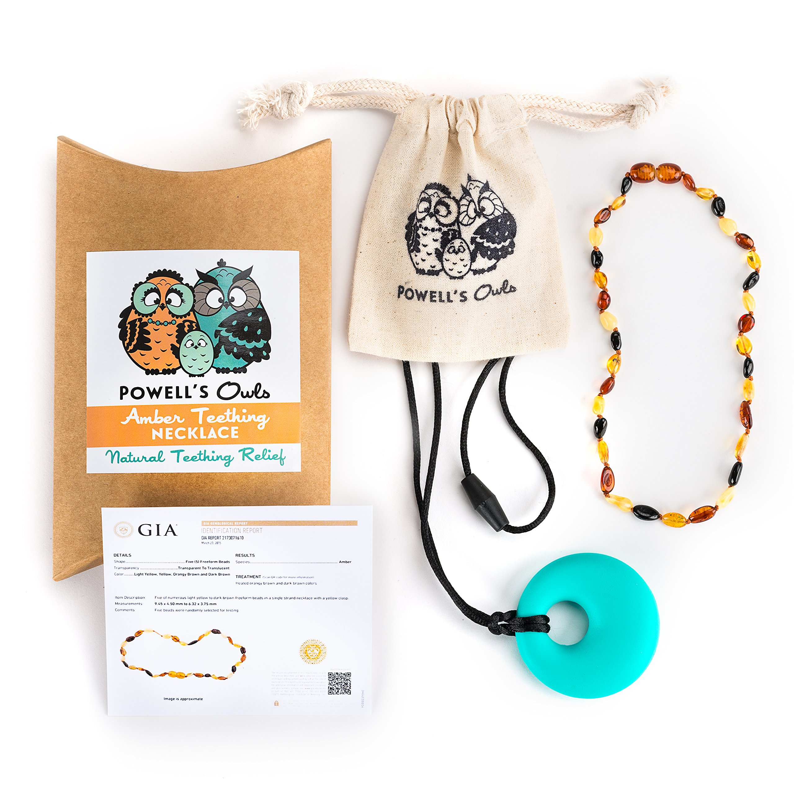 Baltic Amber Teething Necklace Gift Set + Free Silicone Teething Pendant (15 Value) Handcrafted, 100% USA Lab-Tested Authentic Amber - Natural Teething Pain Relief (Unisex - Multicolor - 12.5 inches)