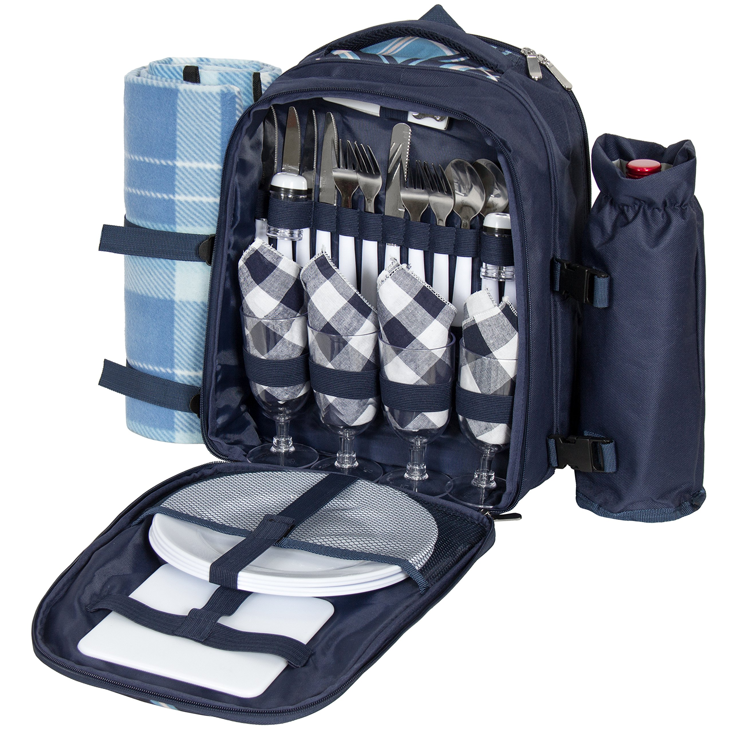 Best Choice Products 4-Person Insulated Portable Picnic Bag Set w/Blanket, Stainless Steel Flatware, Plates, Glasses, Wine Opener, Bottle Holder - Blue