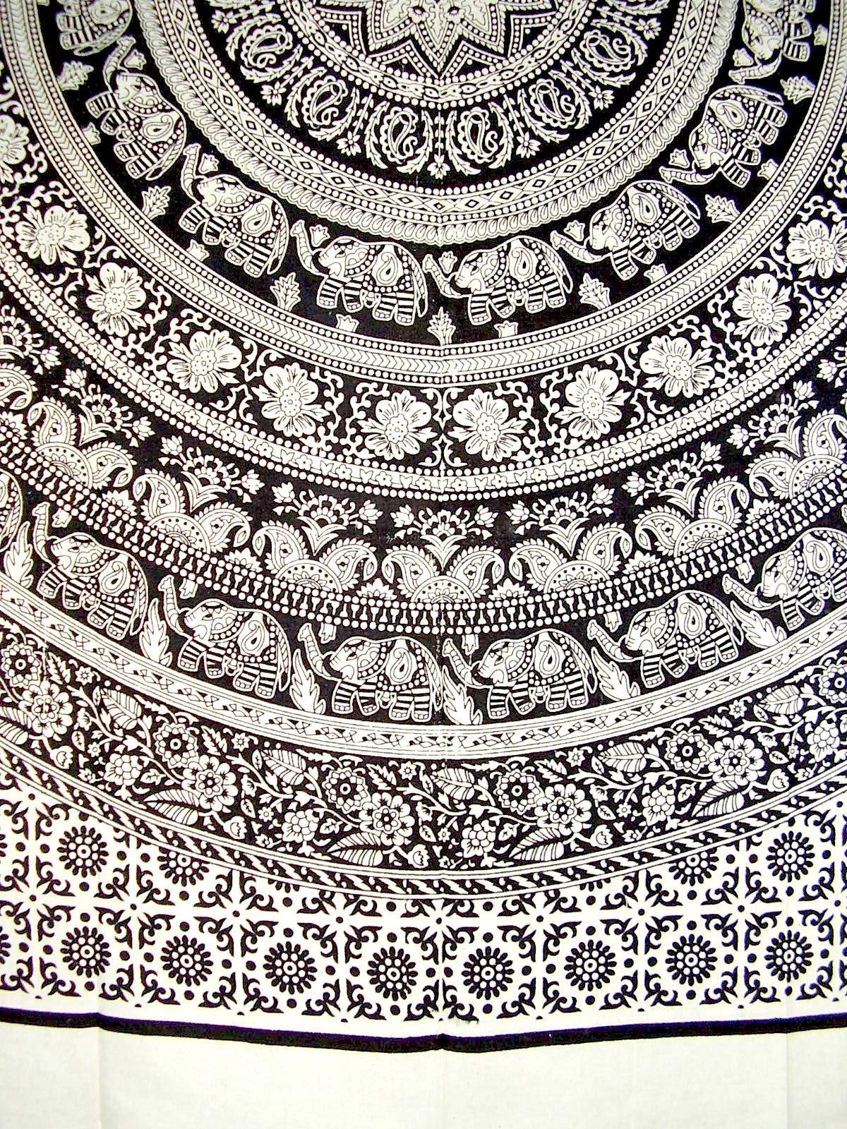 Mandala Elephants Heavy Cotton Bedspread 98'' x 82'' Full White