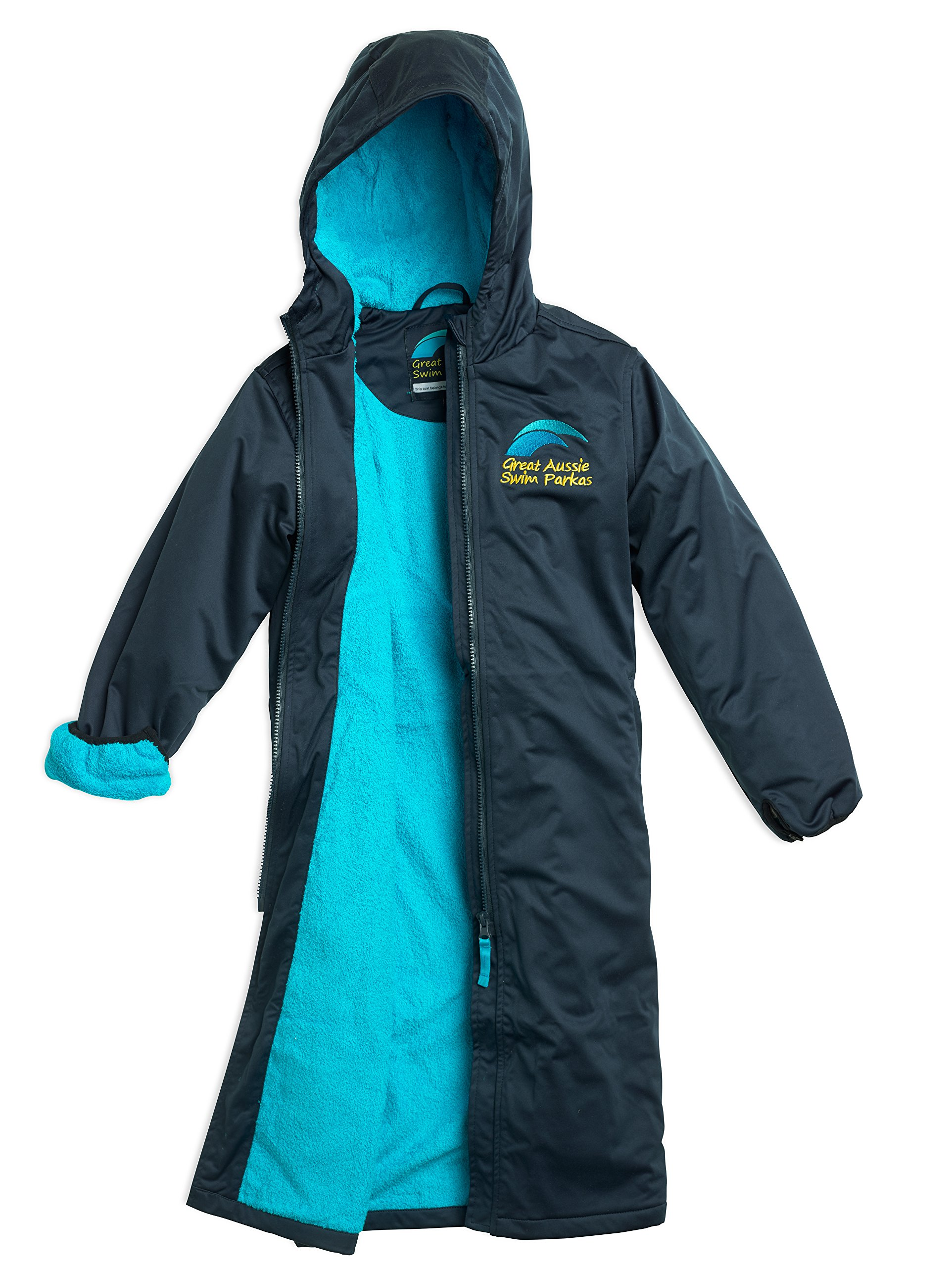 Great Aussie Swim Parkas (Swim Robe/Swim Jacket (Adult 2XLarge, Navy/Aqua) …
