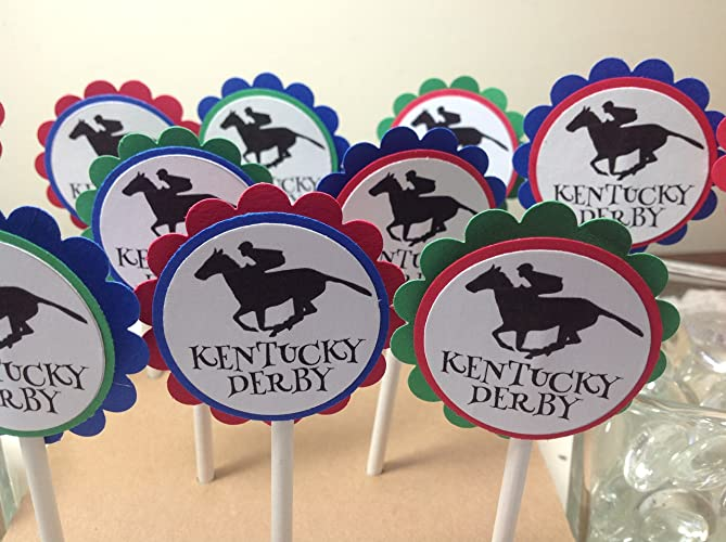 Derby Horse Jockey Cupcake Topper Table Decorations Set Of 12