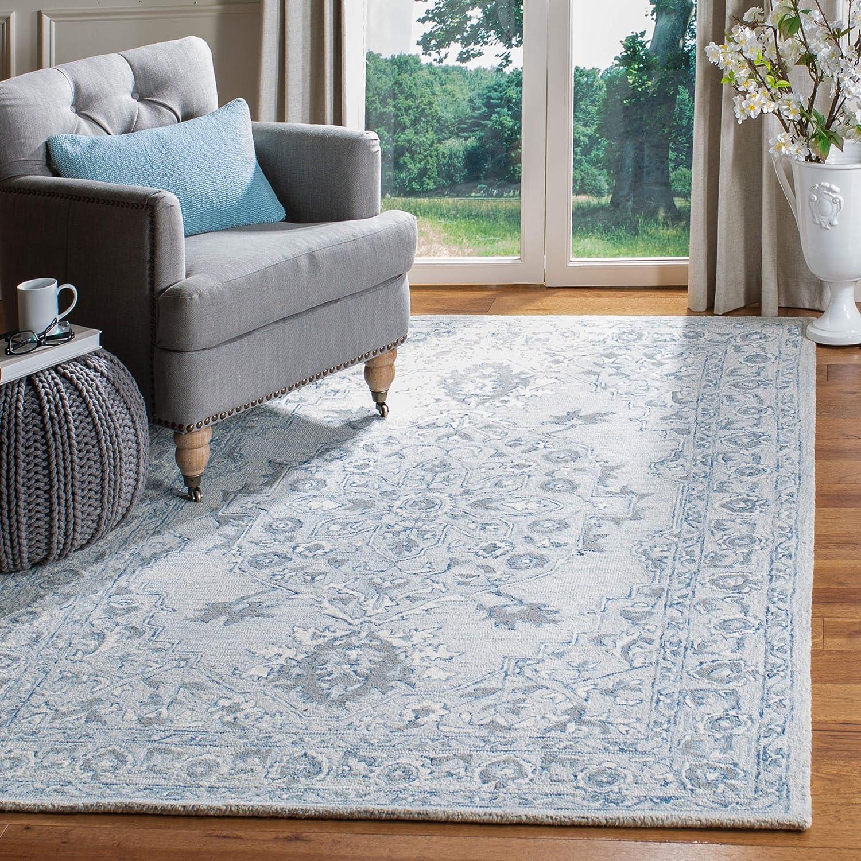 Amazon Com Safavieh Micro Loop Collection Mlp504m Handmade Shabby Chic Oriental Premium Wool Area Rug 8 X 10 Light Blue Ivory Furniture Decor