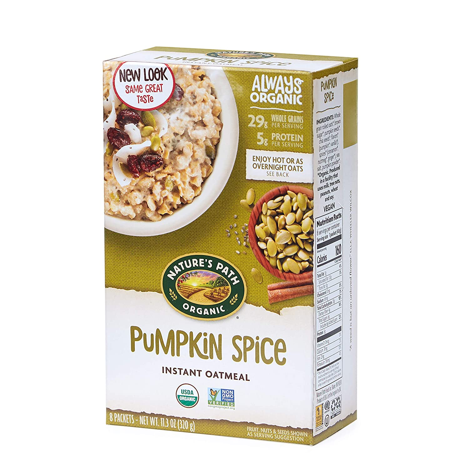 Nature S Path Apple Cinnamon Instant Oatmeal Healthy Organic 8 Pouches Per Box 14 Ounces Pack Of 6
