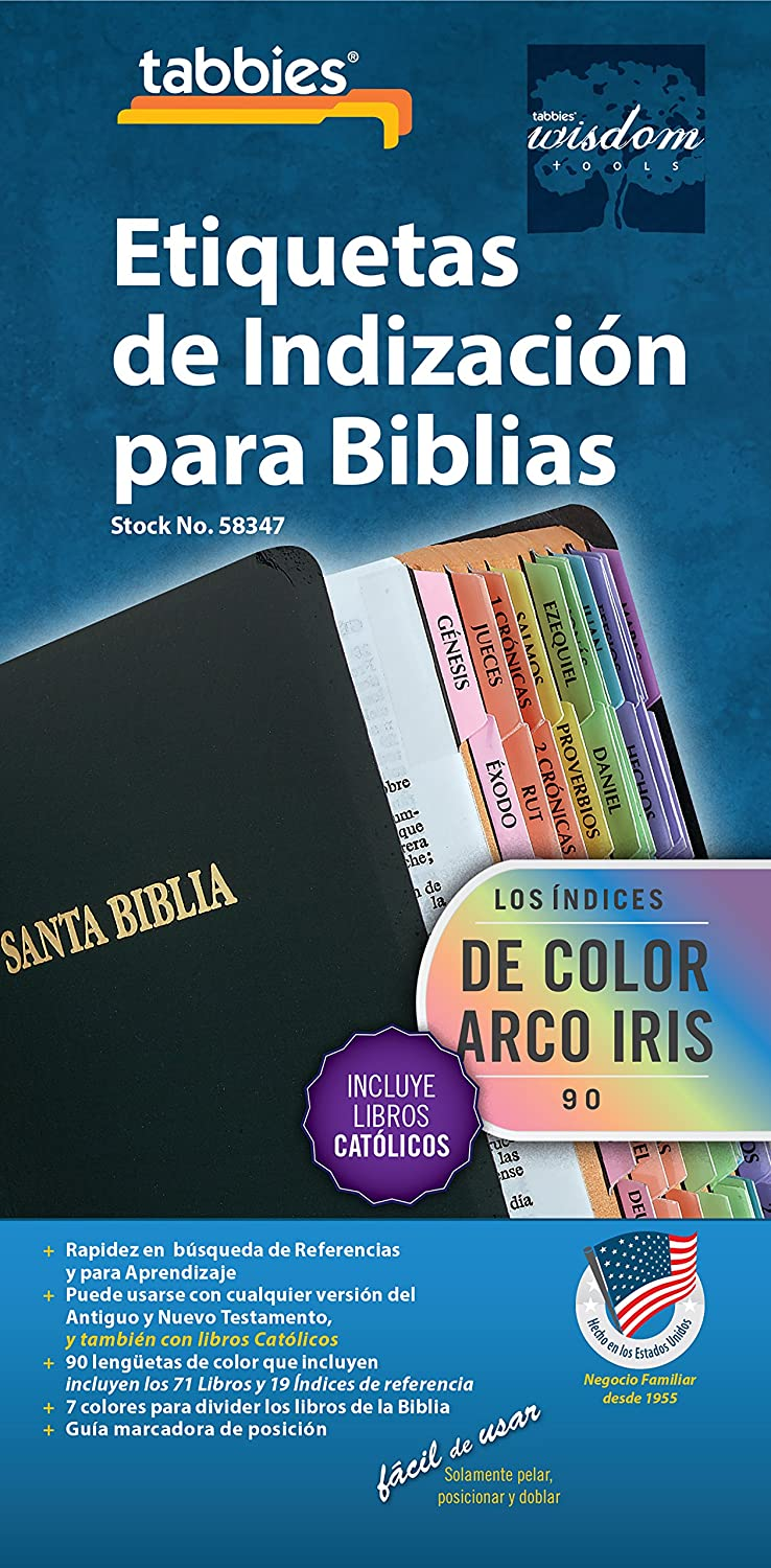SPANISH Land of Color Bible tabs Double Sided and Laminated with Adhesive