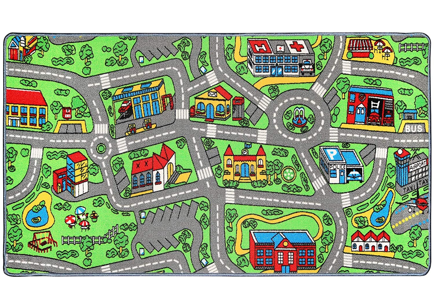 Click N' Play Non-Slip City Life Kids Playmat Rug, Large, 53