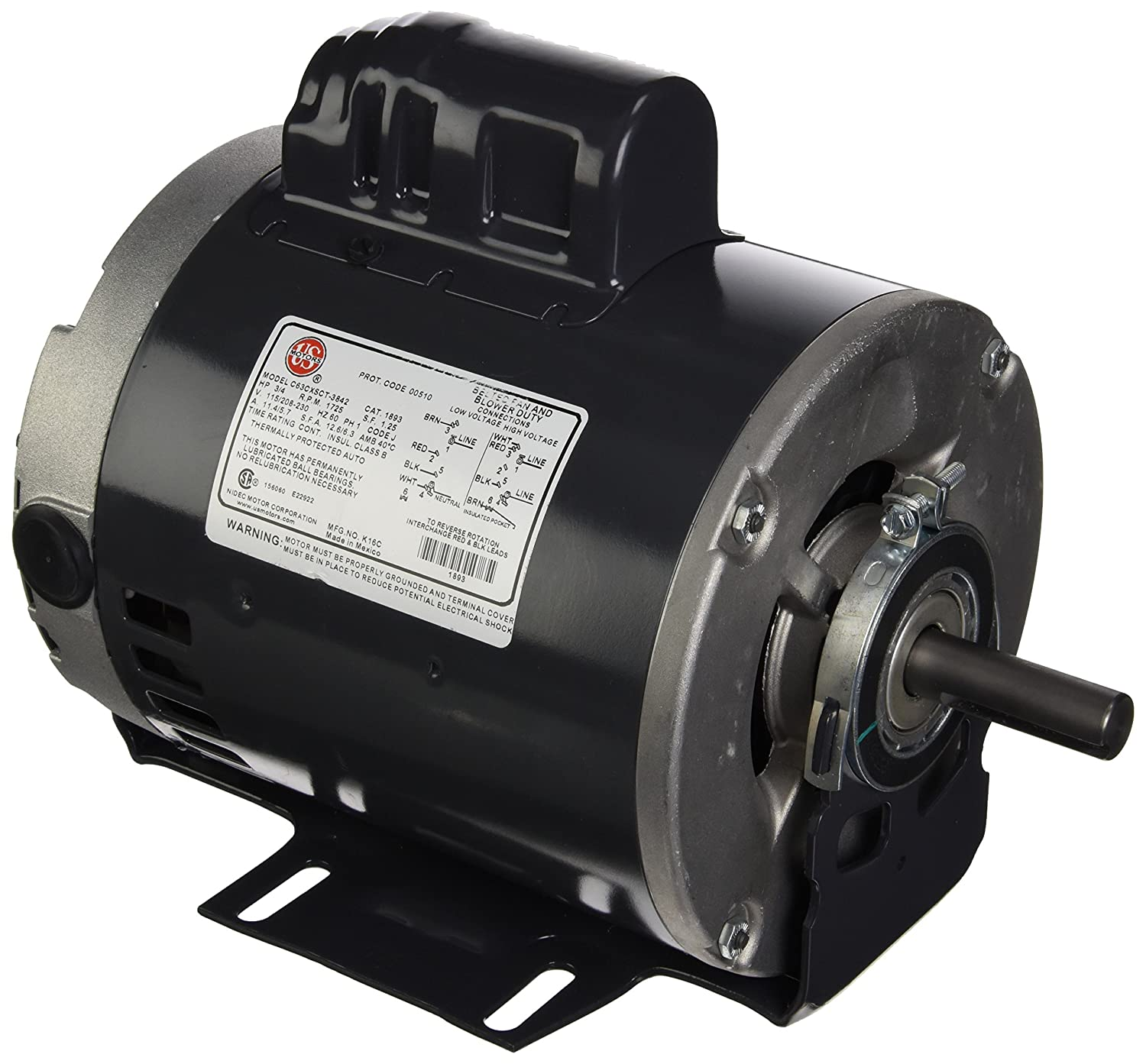 1725 Rpm/1 Speed Rheem Parts Rheem 1893 Blower Motor 3/4 Hp 120-208-230/