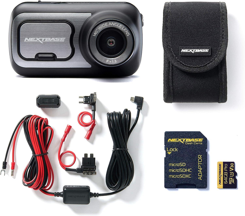 Nextbase 422GW Full 1080p HD c/ámara para salpicadero de Coche con Soporte Kit de Cables Duros Tarjeta SD de 64 GB y Funda incluida