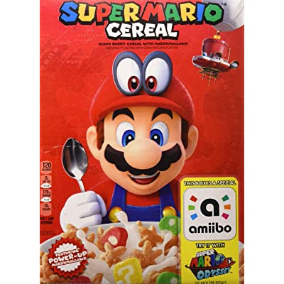 (Discontinued Version) Kellogg's Super Mario Breakfast Cereal, Mixed Berry with Marshmallows, 8.4 oz