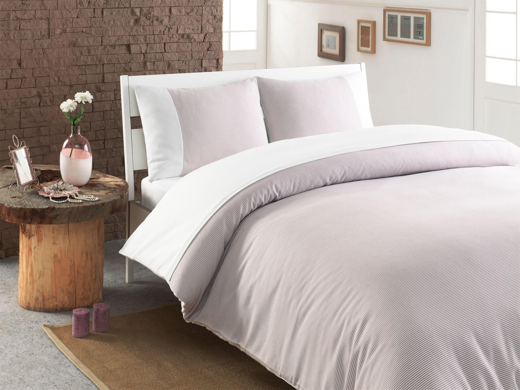 Linum Home Textiles Chevas Luxury Stripe Premium Authentic Soft 100% Turkish Cotton Luxury Duvet Cover, King, White/Taupe Pencil Stripes