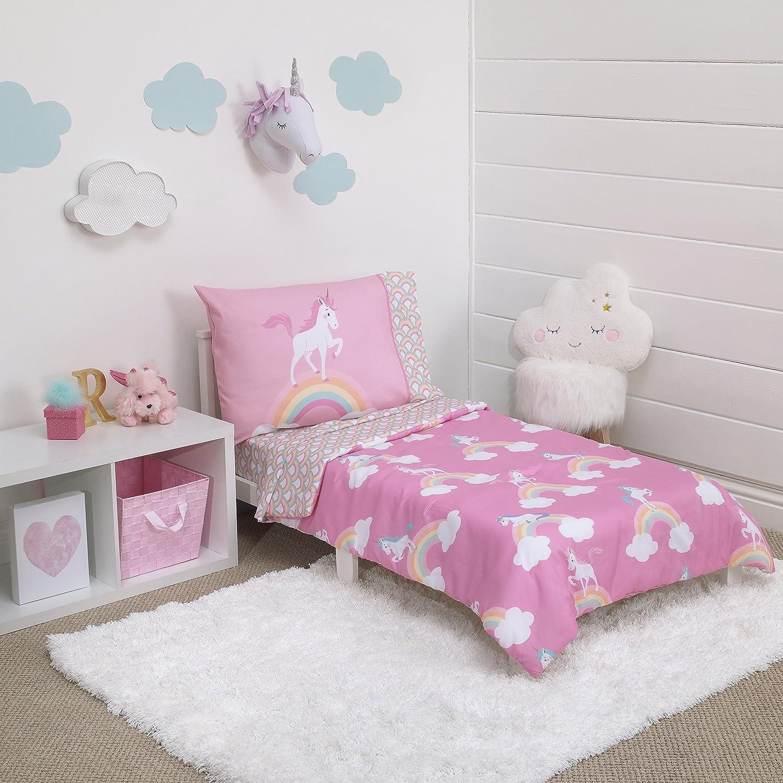 Little Tikes Rainbow Unicorn 4 Piece Toddler Bedding Set, Pink Crown Crafts Inc 2529416
