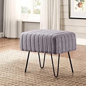"Home Soft Things Serenta Super Mink Faux Fur Ottoman Bench, 19"" x 13"" x 17"" H, Charcoal"
